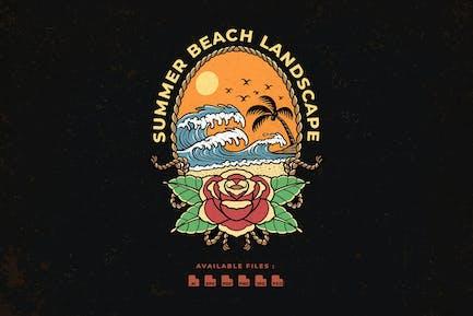 Summer Beach Landscape Hand Drawn Logo