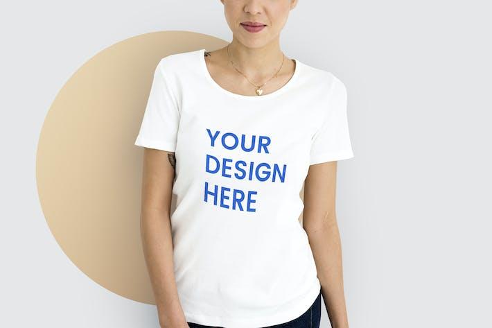 Woman wearing mockup white t-shirt