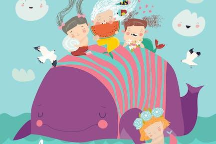 Симпатичные маленькие русалки с китом #illustration2020