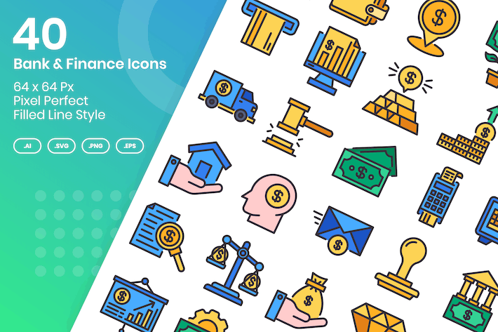 Thumbnail for 40 Bank & Finance Icons Set - Filled Line