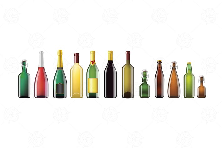 Thumbnail for Alcohol Bottles - realistic vector set of objects