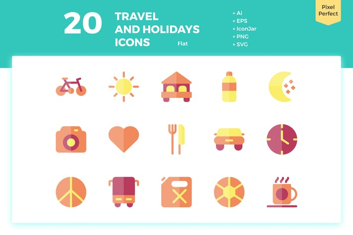 Thumbnail for 20 Travel and Holiday Icons (Flat)
