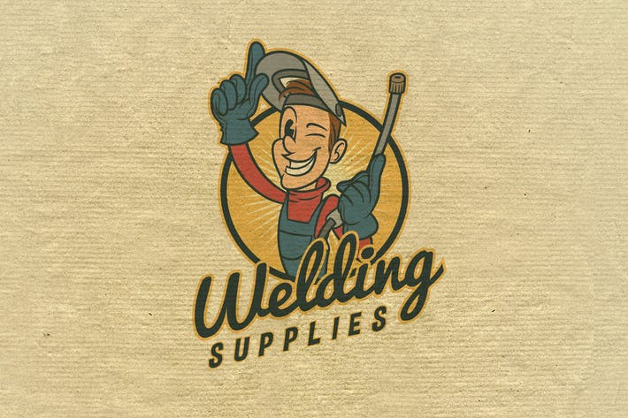 Thumbnail for Retro Vintage Cartoon Welder Mascot- Welding Logo