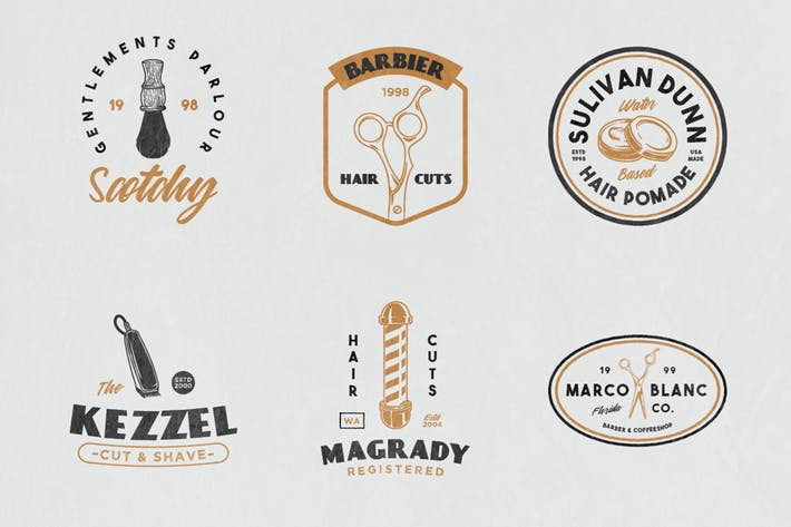 Thumbnail for 12 Vintage Barber Shop Badge