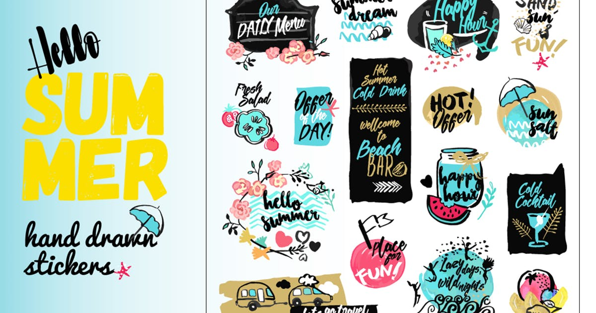 Download Set of hand drawn watercolor signs of summer by PureSolution
