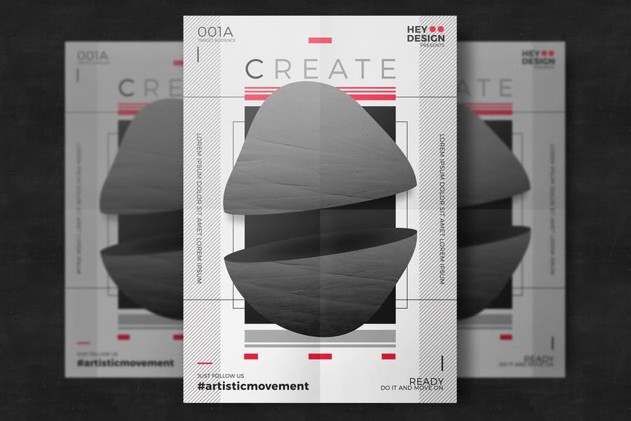 White and black creative poster template