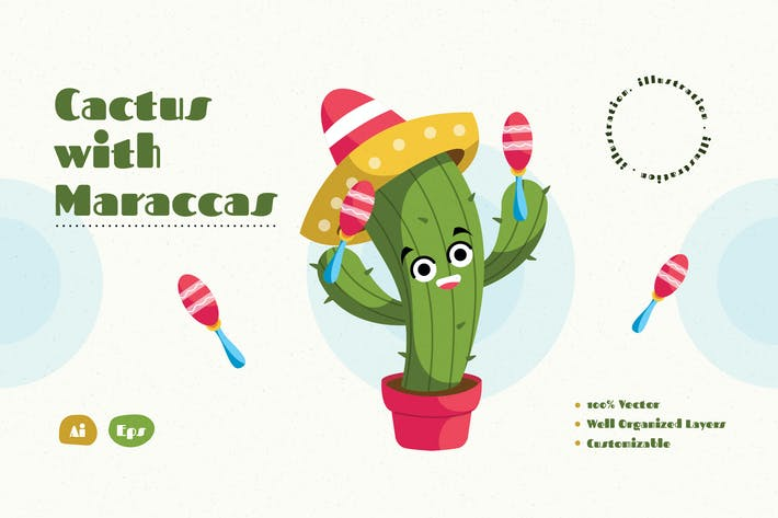 Cactus with Maracas Illustration