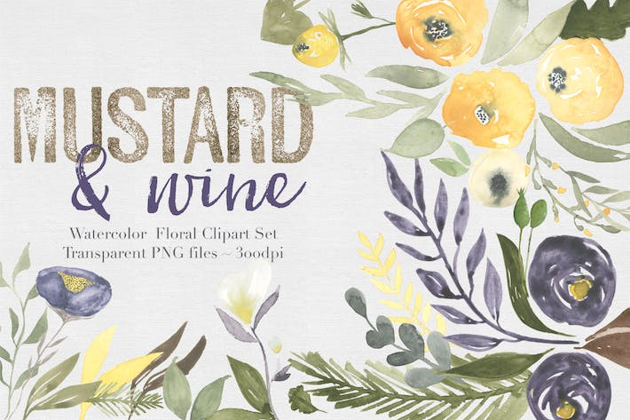 Thumbnail for Mustard & Wine Watercolor Clipart Set