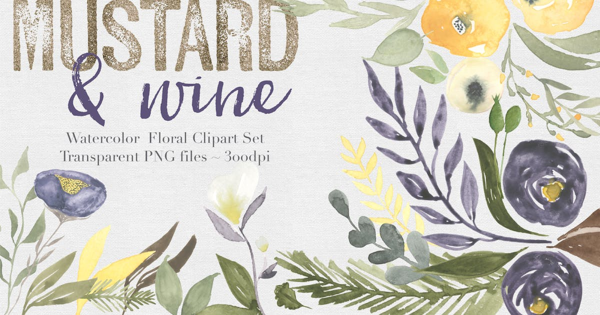 Download Mustard & Wine Watercolor Clipart Set by theautumnrabbit