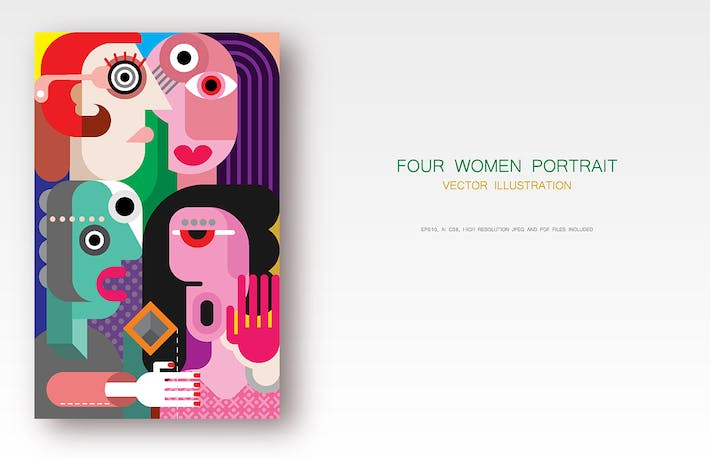 Thumbnail for Portrait of four women vector illustration