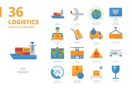 Logistics Flat Style Icon Set