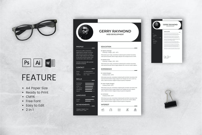 Thumbnail for Professional CV And Resume Template Gerry Raymond