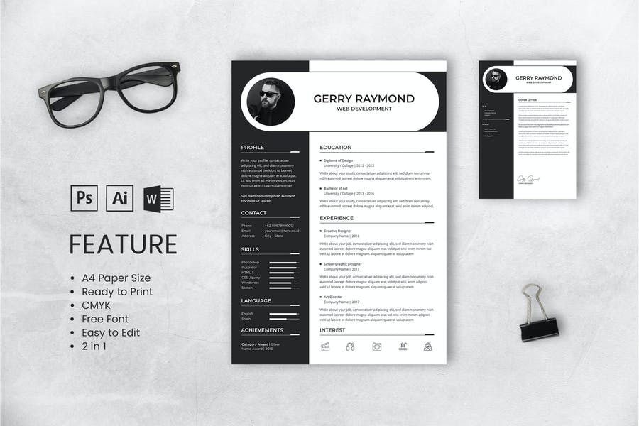 Professional CV And Resume Template Gerry Raymond