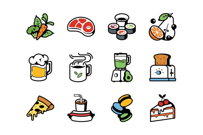 Thumbnail for Food and beverages color icons