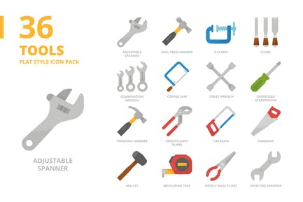Tools Flat Style Icon Set