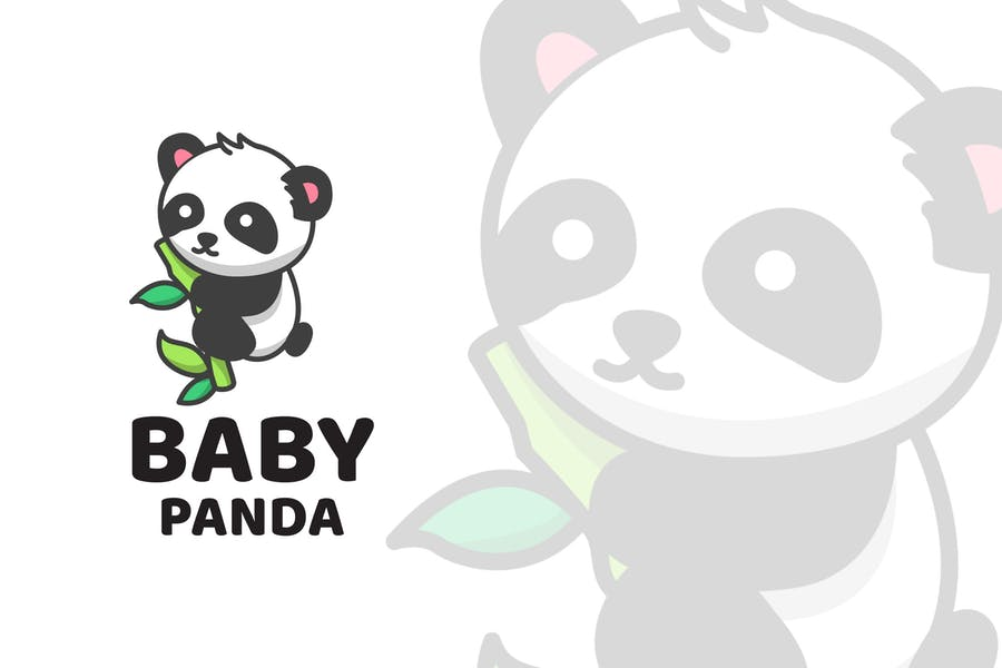 Baby Panda Cute Logo Template