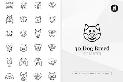 30 Dog breed in minimal design
