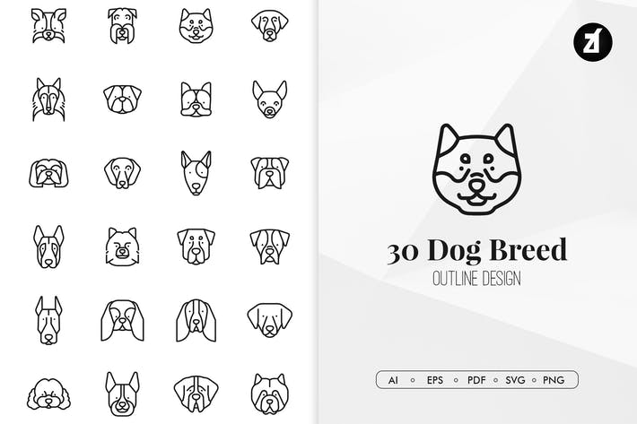 Thumbnail for 30 Dog breed in minimal design