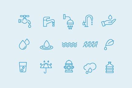 15 Íconos de agua y gotas
