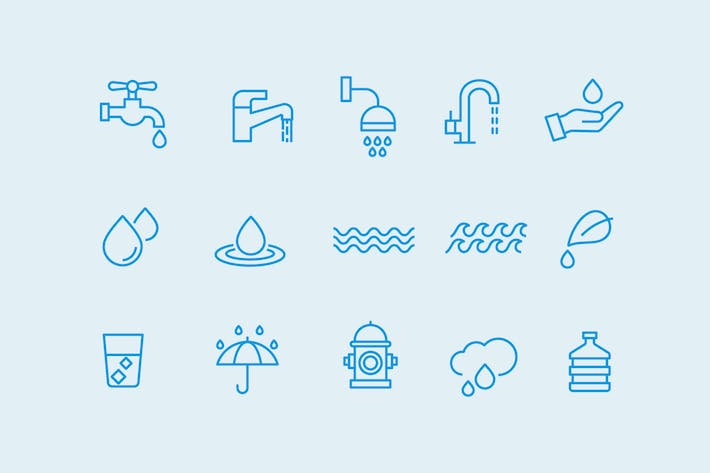 Thumbnail for 15 Water and Droplet Icons