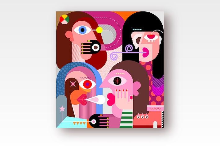 Thumbnail for Four Persons Portrait vector illustration