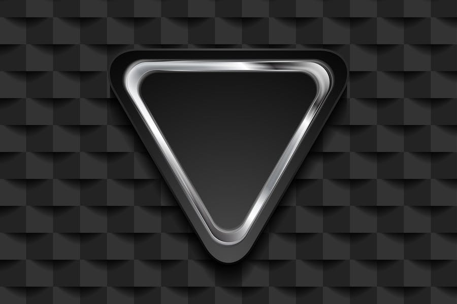 Silver triangle on black tech mosaic background