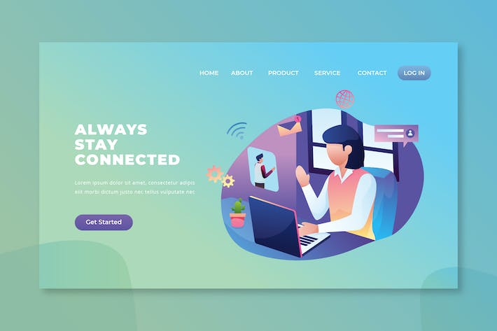 Thumbnail for Always Stay Connected - PSD and AI Landing Page