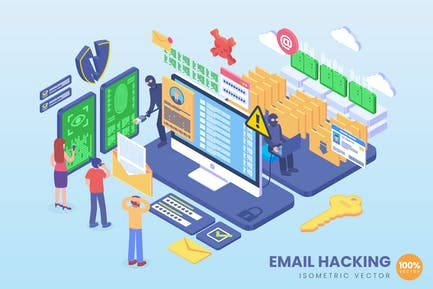 Isometric Email Hacking Vector Concept