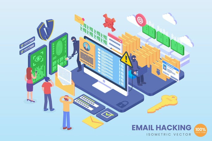 Thumbnail for Isometric Email Hacking Vector Concept