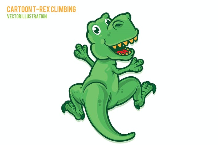 Thumbnail for Cute Trex Climbing Vector Illustration