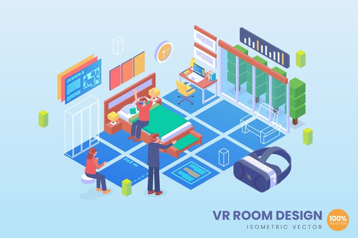 Thumbnail for Isometric VR Room Design Vector Concept