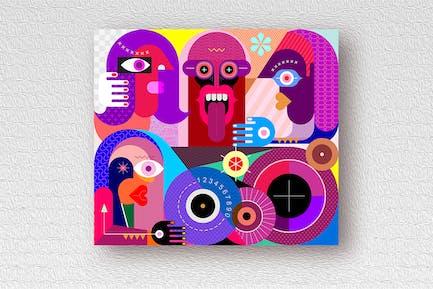 Four People Portrait Vektor illustration
