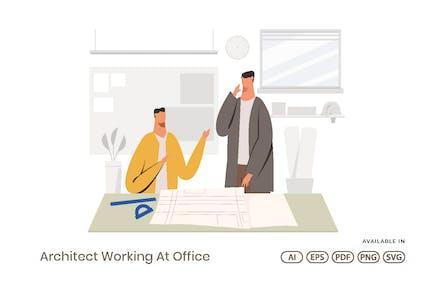 Arquitecto que trabaja en la oficina