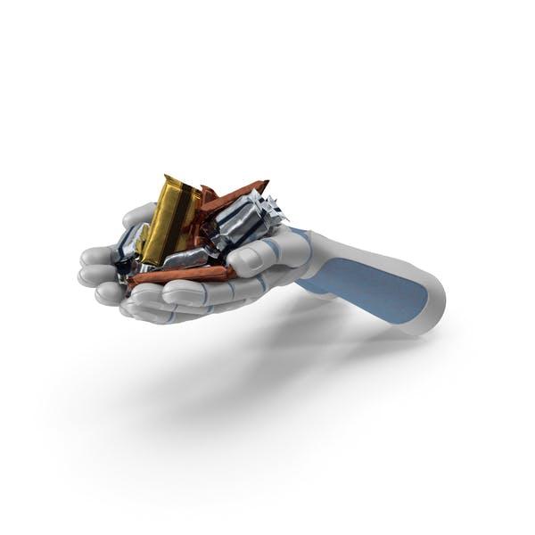 Roboter-Hände Handvoll mit gemischten Schokoriegeln