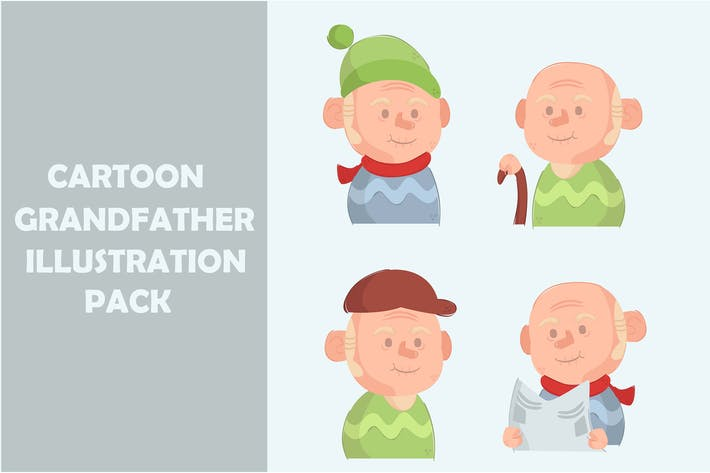 Cartoon Grandfather Illustration Pack