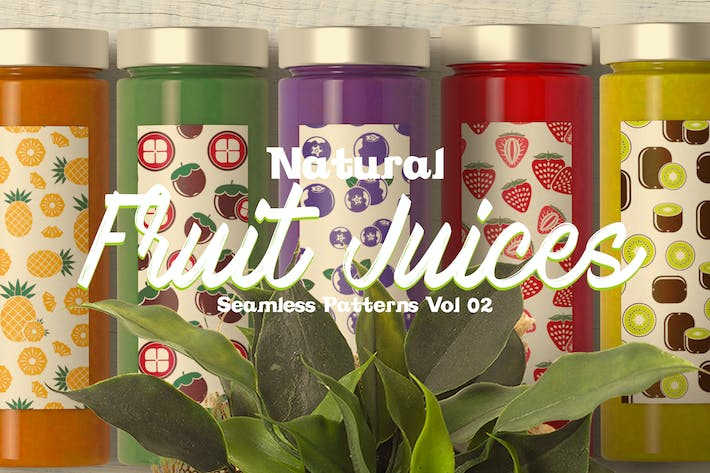 Thumbnail for Natural Fruit Juices Seamless Patterns Vol2