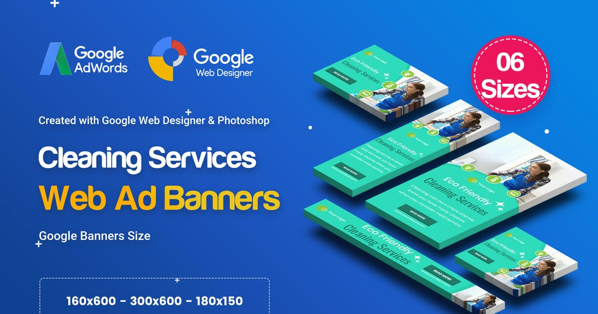 Download C42 - Cleaning Services Banners GWD & PSD by iDoodle