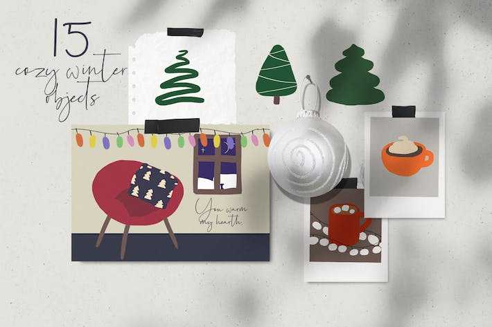 Thumbnail for Cozy winter Christmas abstract illustrations