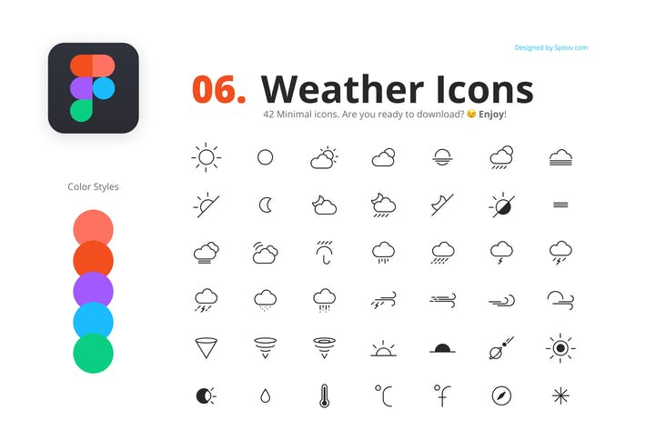 Thumbnail for 42 Weather Icons