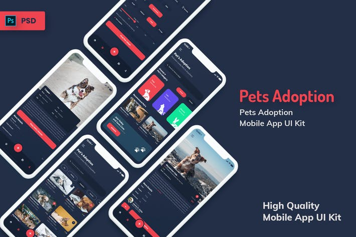Thumbnail for Pets Adoption Mobile App Dark Version