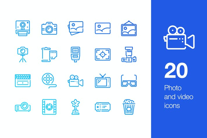 Thumbnail for 20 Photo and video icons