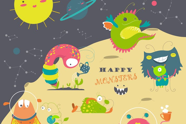 Thumbnail for Vector set of cute cartoon alien and space