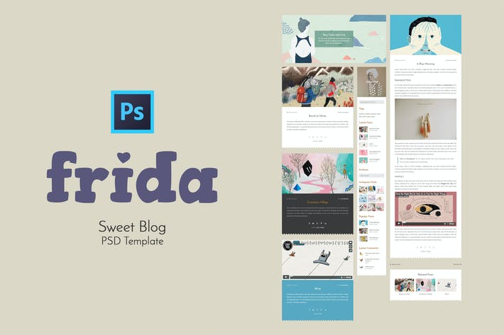 Cover Image For Frida - Sweet Blog PSD Template