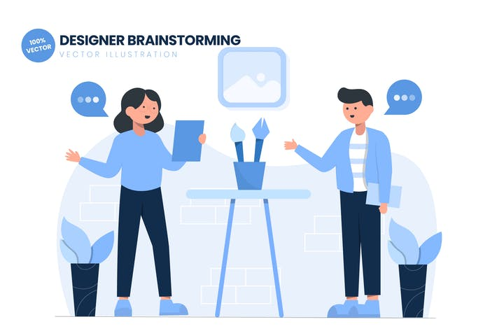 Thumbnail for Graphic Designer Brainstorming Flat Vector