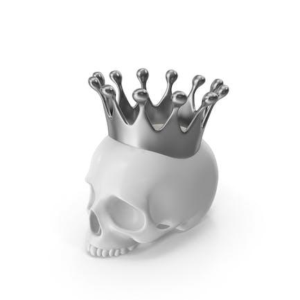 Weiße Totenkopf Kerze mit silberner Krone