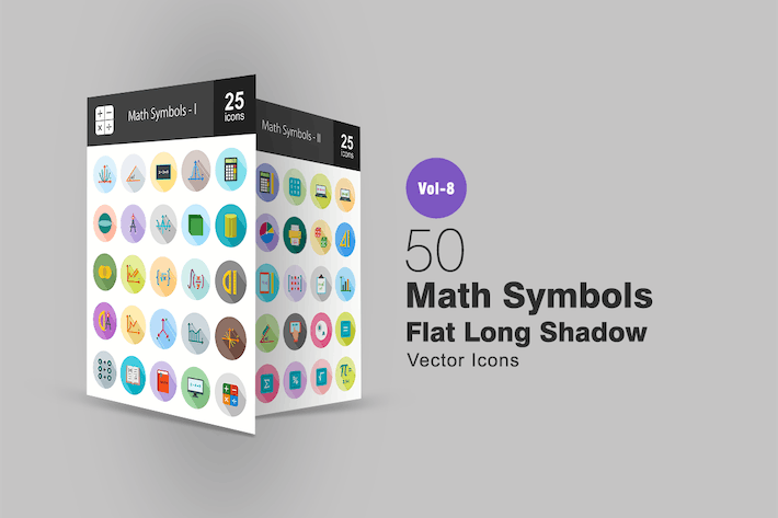 Thumbnail for 50 Math Symbols Flat Shadowed Icons