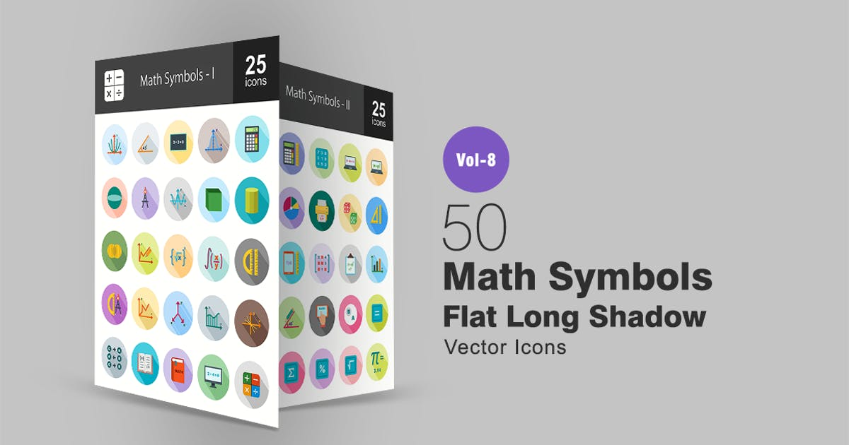 Download 50 Math Symbols Flat Shadowed Icons by Unknow