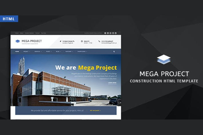 Thumbnail for Mega Project - Construction HTML Template