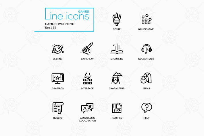 Thumbnail for Game components - vector single line icons set