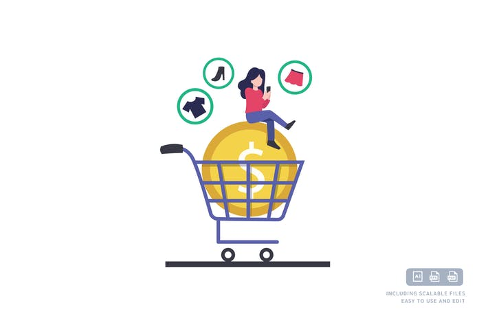 Thumbnail for Online shopping - Ilustration Template